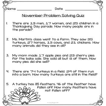 November Problem Solving Task Cards