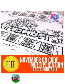 November QR Code Multiplication Facts Worksheet FREEBIE