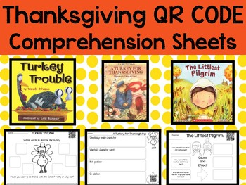 November QR Codes with Comprehension Sheets for Thanksgivng