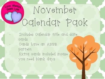 November Quatrefoil Calendar Set