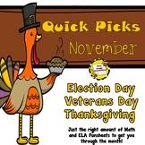 November Quick Picks (ELA and Math Funsheets)
