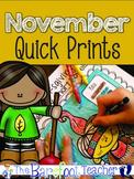 Thanksgiving Activities - November Math & LA Quick Prints
