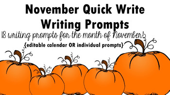 November Quick Write Writing Prompts