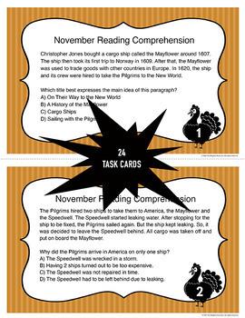 November Reading Comprehension Task Cards