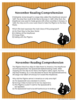 Thanksgiving Reading Task Cards