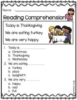 November Reading Comprehension