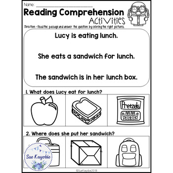 November Reading Comprehension Activities Freebies