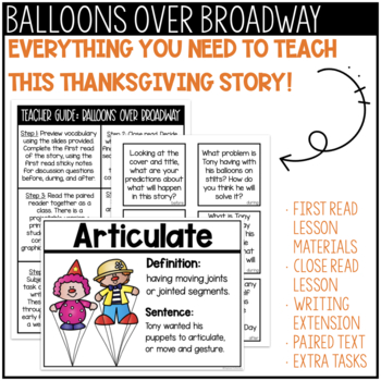 November Reading Comprehension | Balloons Over Broadway Book Companion