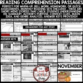 November Reading Comprehension Passages 4th Grade, 3rd Grade & 5th Grade