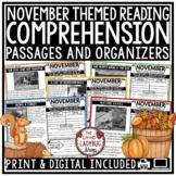November Reading Comprehension Passages 4th Grade, 3rd Grade & 5th Grade