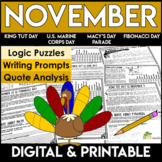 November Reading Comprehension Passages and Questions | Logic Puzzles
