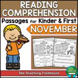 November Reading Comprehension Passages for Kindergarten and First Grade