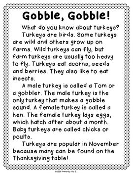 November Reading Comprehension & Written Response