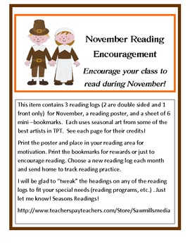 November Reading Encouragers - Reading Logs, Poster, and Bookmarks