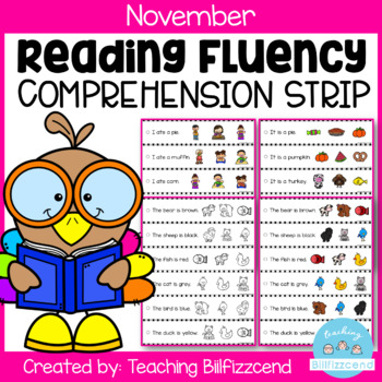 November Reading Fluency and Comprehension Sentence Strip