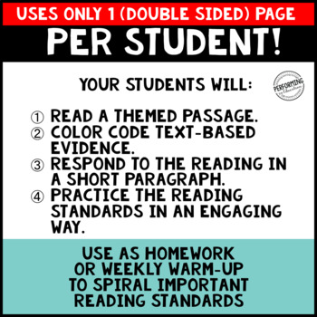 November Reading Homework for 4th & 5th PAPER-SAVING color text-based evidence