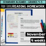 November Reading Homework for 4th & 5th PAPER-SAVING color