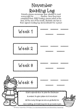 November Reading Incentive Bookmark: Reward Daily Reading in Any Grade Level