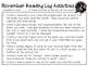 November Reading Log Packet for Intermediate Students
