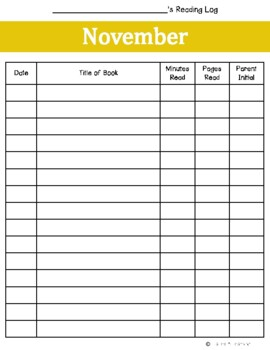 November Reading Log {Two Versions}