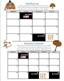 November Reading Log and Behavior Calendar