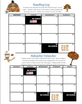 November Reading Log and Behavior Calendar