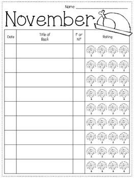 November Reading Printables