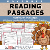 November Reading Passages - Nonfiction Text with Comprehension Activities