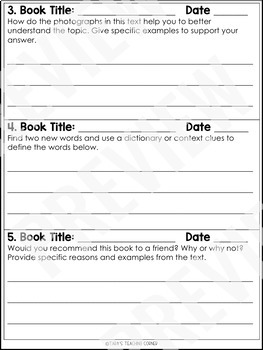November Reading Response Logs (Grade 3)