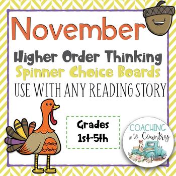November Reading Spinner Choice Boards