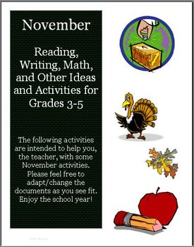 November Reading, Writing, Math, and other Activities