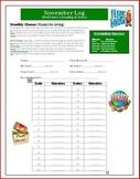November Reading and Math Intermediate Log Giving Theme