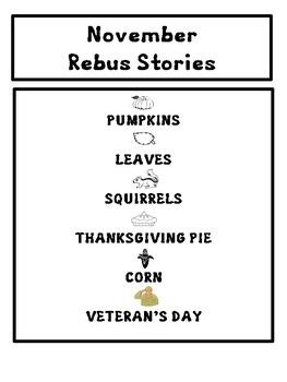 Kindergarten / First Thanksgiving  and November REBUS