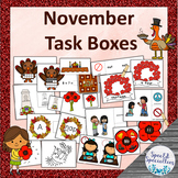 November Remembrance Day/Thanksgiving Task Boxes - Literacy, Math, Fine Motor