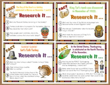 Research Task Cards for November