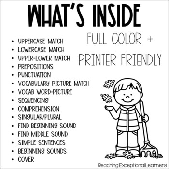 November SPED Adapted Reading Binder