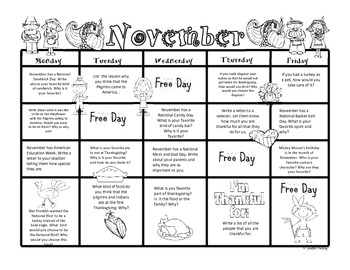November Second Grade Writing Prompts and Journal Pages (Common Core Aligned)