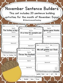 November Sentence Builders {morning work, word work, daily 5, & centers}