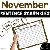 November Sentence Scrambles