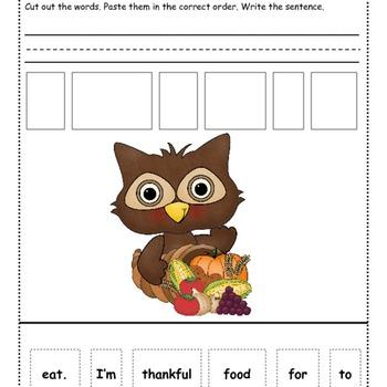 November Sentence Scrambles: Kindergarten, First, and Second Grade