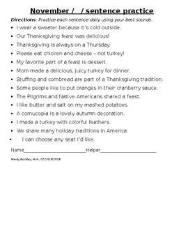 November Sentence Sound Practice