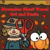 November Short Vowel Cut and Paste:  CVC Word Work for Kindergarten