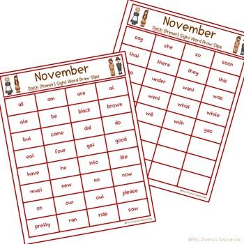 November Sight Word Bingo (Primer Level)