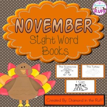 November Sight Word Books