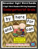 November Sight Word Bundle: 6 Emergent Readers/Writing Response Sheets