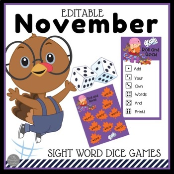 November Sight Word Dice Games EDITABLE