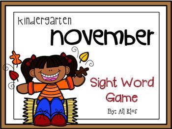 November Sight Word Game