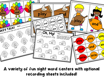 November Sight Word Games and Centers - Editable
