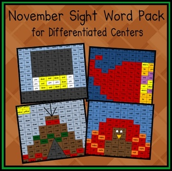November Sight Word Pack (Differentiated for K-2)