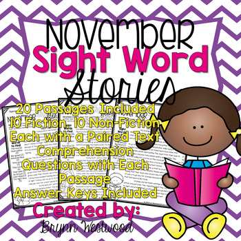 November Sight Word Stories